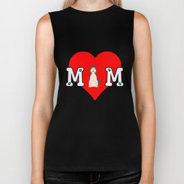 Dog Mom Heart Paw Prints West Siberian Laika Biker Tank