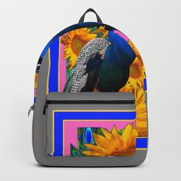 BLUE PEACOCK &  PINK-GREY COLOR YELLOW FLOWERS Backpack