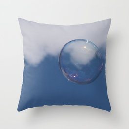 Soap Bubble in the Blue Sky Throw Pillow