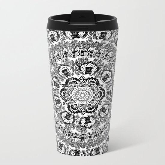 Black Pug Yoga Medallion Metal Travel Mug