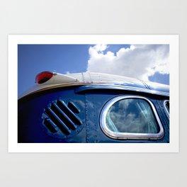 VINTAGE - Cool Vintage Classic Blue Bus Art Print
