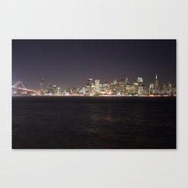 SF at night as seen from Treasure Island. Canvas Print