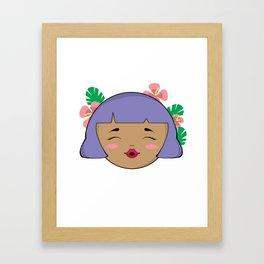Purple Tropical Girl Framed Art Print