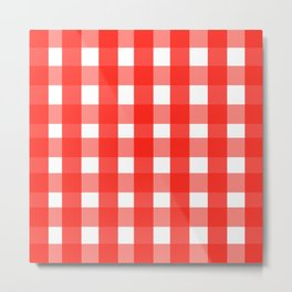 red white checks Metal Print