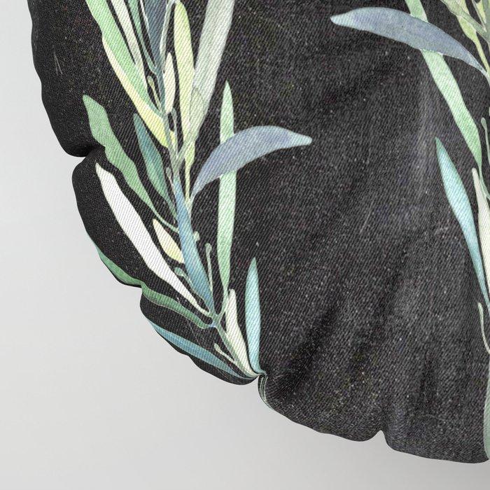 Eucalyptus Branches On Chalkboard Floor Pillow