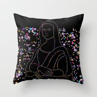 mona lisa Throw Pillows featuring Mona Lisa by Ornaart