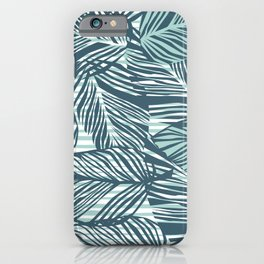Tropical pattern, palm leaves print iPhone Case