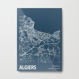 Algiers Blueprint Street Map, Algiers Colour Map Prints Metal Print