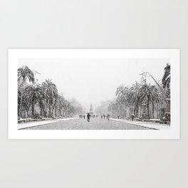 Snowing in Barcelona Art Print