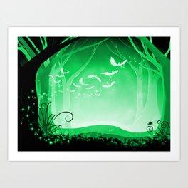 Dark Forest at Dawn in Emerald Art Print