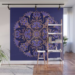 Lotus Mandala - Blue and Gold Wall Mural