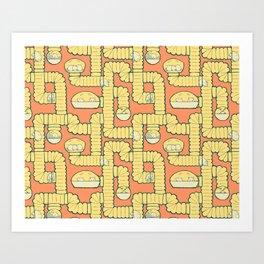 Tube City (Orange) Art Print