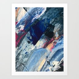 Flourish [1]: a vibrant abstract mixed-media piece in blues, magenta, and gold Art Print