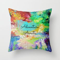 ADVENTURE AWAITS Wanderlust Typography Explore Summer Nature Rainbow Abstract Fine Art Painting Throw Pillow