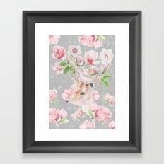 Deer Head & Magnolia's  Framed Art Print