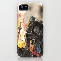 Dark Souls Bonfire with a Warrior Japanese calligraphy iPhone SE Slim Case