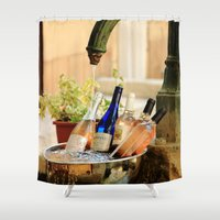 wine Shower Curtains featuring Wine Cooler  by Phil Smyth