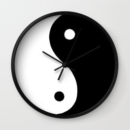 Yin and Yang BW Wall Clock