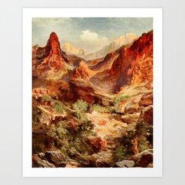Moran, Thomas (1837-1926)  - Three wonderlands of the American West 1912 - Bright Angel Trail, Art Print