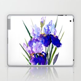 Garden Irises, Blue Purple Floral Design Laptop & iPad Skin