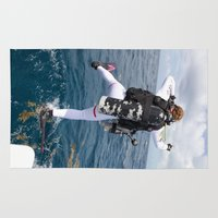 scuba Area & Throw Rugs featuring Scuba Diver Jump by BravuraMedia