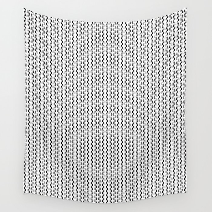 Black and White Basket Weave Shape Pattern 2 - Graphic Design Wall Tapestry
