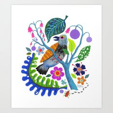 Bird Botanical Art Print