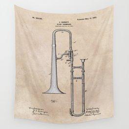 patent Hankey Slide Trombone 1902 Wall Tapestry