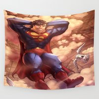 man of steel Wall Tapestries featuring Superman (The Man of Steel ) Day Off by Brian Hollins art
