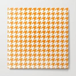 Orange: Houndstooth Checkered Pattern Metal Print
