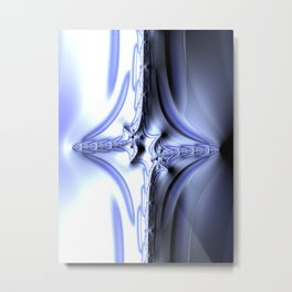 Blue Abstract Fractal Metal Print