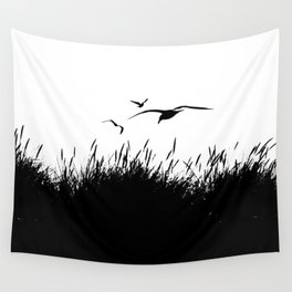 Seagulls Flying over Sand Dunes Wall Tapestry