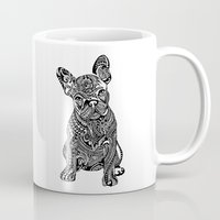 frenchie Mugs featuring Polynesian  Frenchie by Huebucket
