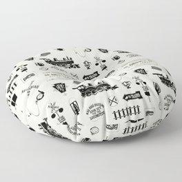 Railroad Symbols // Beige Floor Pillow