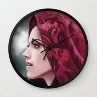 ruby Wall Clocks featuring Ruby by Svenja Gosen