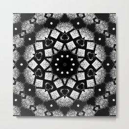 Black White Mosaic Kaleidoscope Mandala Metal Print