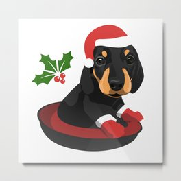 Puppy Christmas Metal Print