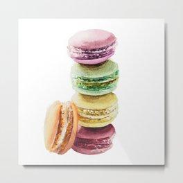 Colorful Macarons Wataercolor Painting Metal Print
