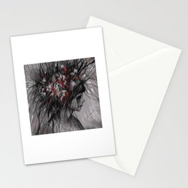 Black, Red and White Digital Painting of a Gothic Girl Stationery Cards