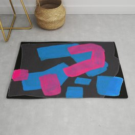 Minimalist Abstract Fun Mid Century Colorful Shapes African Tribal Pattern Magenta Blue Black Jazz Rug