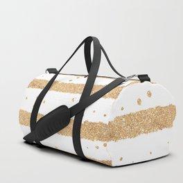 Elegant white faux gold glitter geometrical stripes Duffle Bag