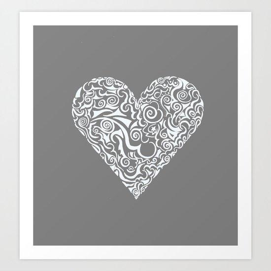 LOVE ME GREY Art Print
