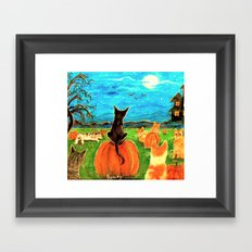 Seven Cats in Pumpkin Patch Framed Art Print