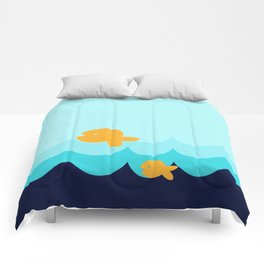Beach Series Aqua- Gold Fish Animals in the deep Sea Comforters