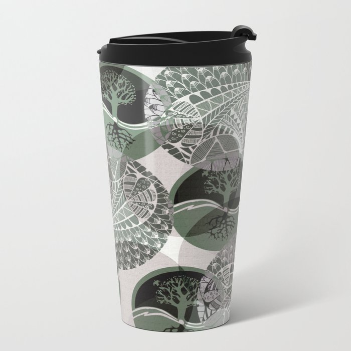 Zentangle and Tree Motifs in Circles Metal Travel Mug