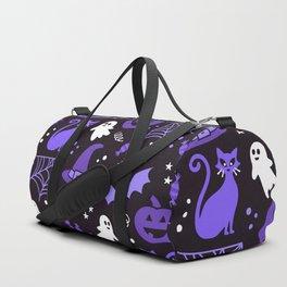 Halloween party illustrations purple, black Duffle Bag