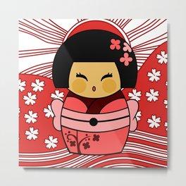 Kokeshi Sakura Metal Print