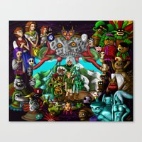 majoras mask Canvas Prints featuring Majoras mask by Rowena White
