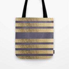 Elegant mauve purple faux gold stripes pattern Tote Bag
