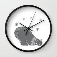 polar bear Wall Clocks featuring Polar bear by Better HOME